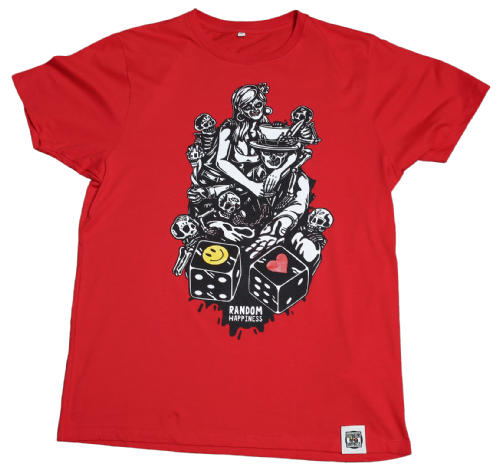 Day of the Dead Dice Roll print on Red Organic T - Shirt by Random Happiness